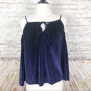 Laundry velvet purple cold shoulder top